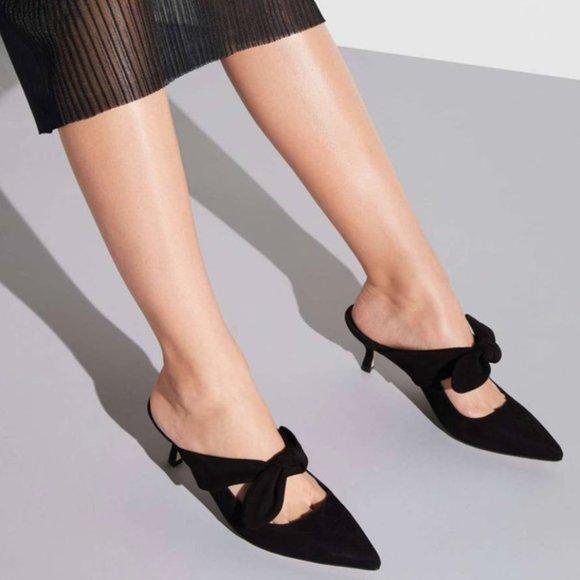 M.Gemi The Lasso Black Suede Tie Kitten Heels